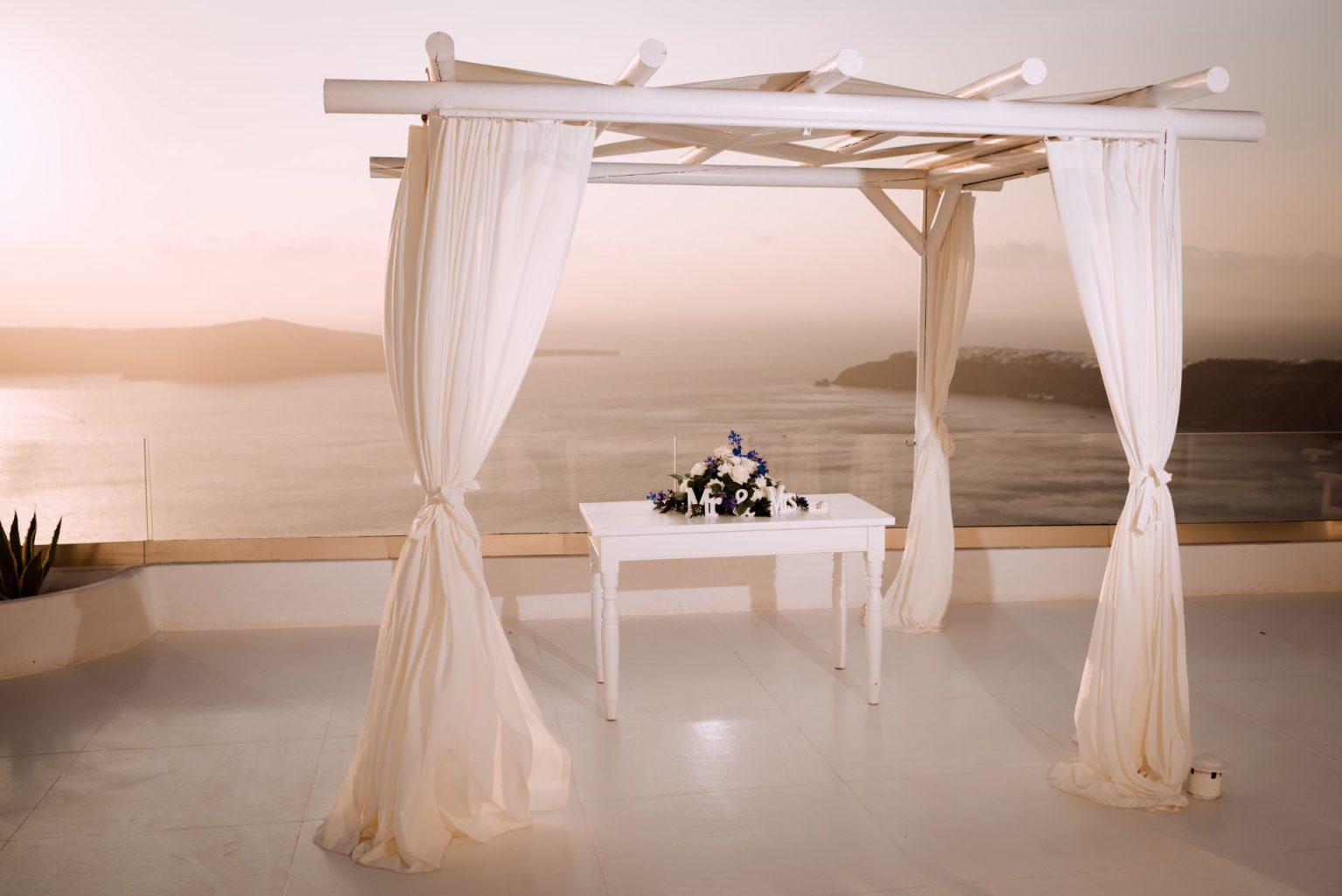Elopement in enchanting sunset of Santorini